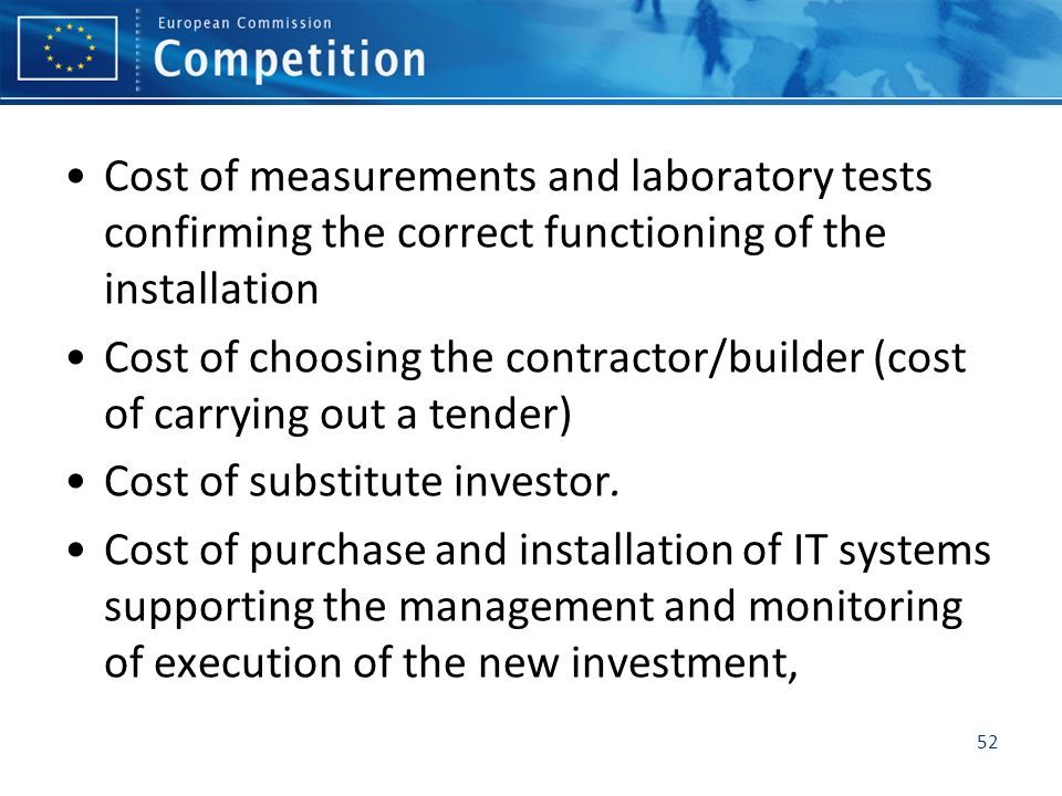Cost of measurements and laboratory tests confirming the correct functioning of the installation