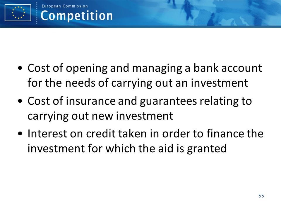 Cost of opening and managing a bank account for the needs of carrying out an investment
