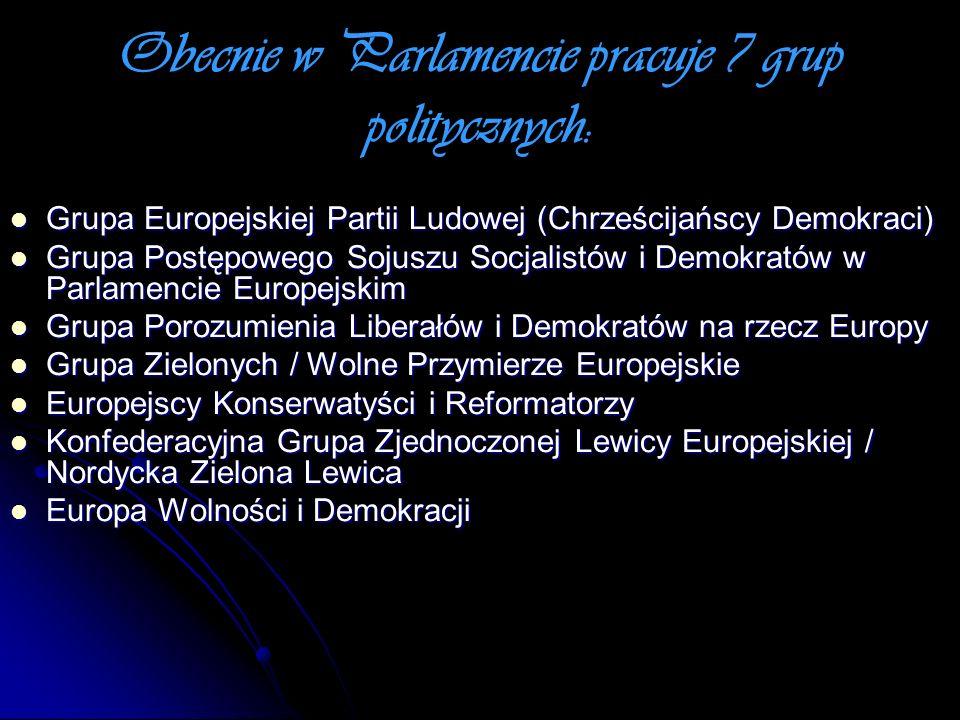 Obecnie w Parlamencie pracuje 7 grup politycznych: