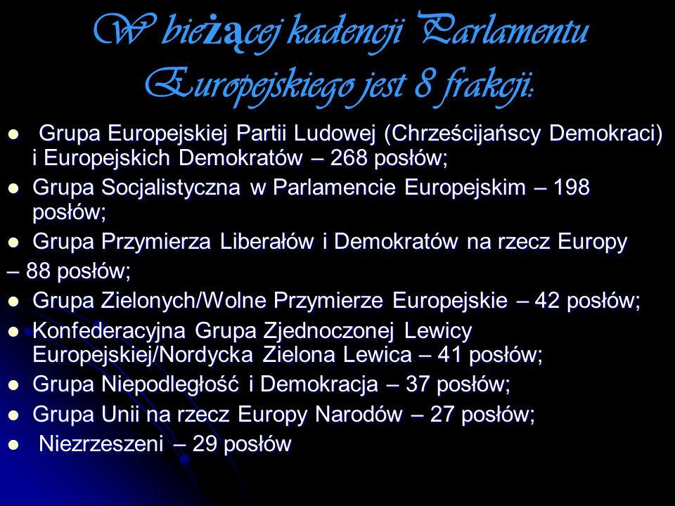 W bieżącej kadencji Parlamentu Europejskiego jest 8 frakcji: