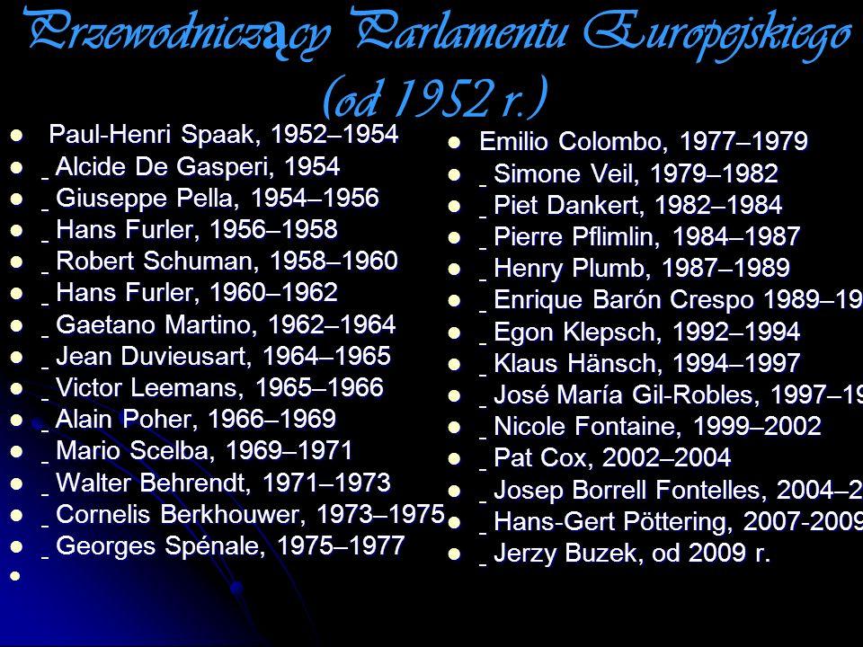 Przewodniczący Parlamentu Europejskiego (od 1952 r.)