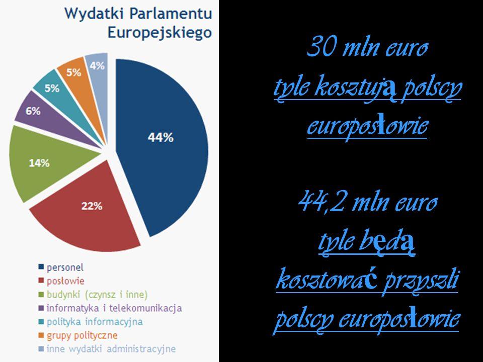 30 mln euro tyle kosztują polscy europosłowie 44,2 mln euro tyle będą kosztować przyszli polscy europosłowie