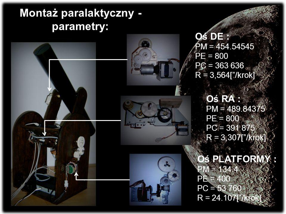 Montaż paralaktyczny - parametry: