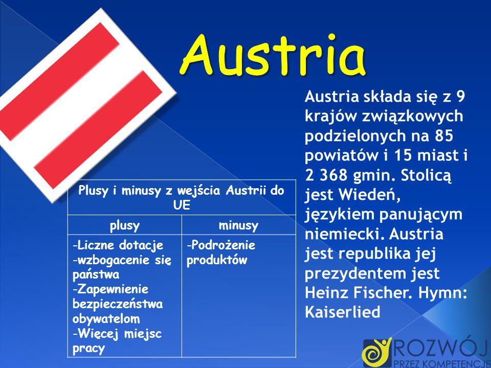Plusy i minusy z wejścia Austrii do UE