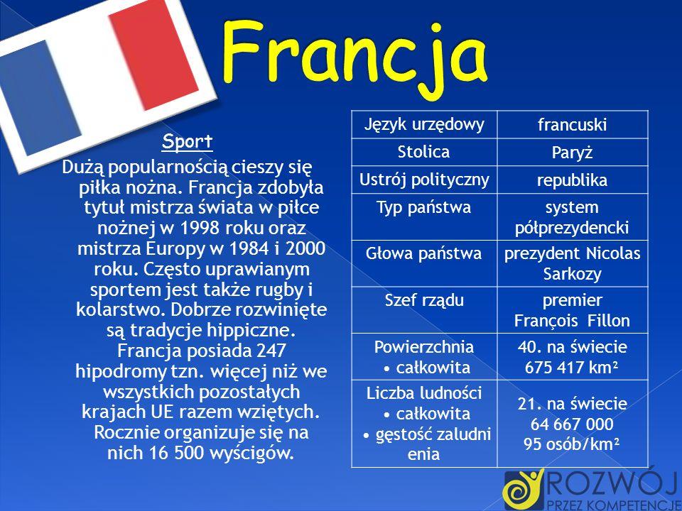FrancjaJęzyk urzędowy. francuski. Stolica. Paryż. Ustrój polityczny. republika. Typ państwa. system półprezydencki.