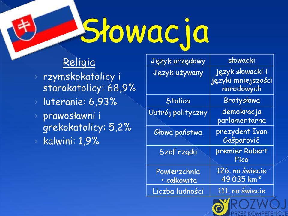 Słowacja Religia rzymskokatolicy i starokatolicy: 68,9%