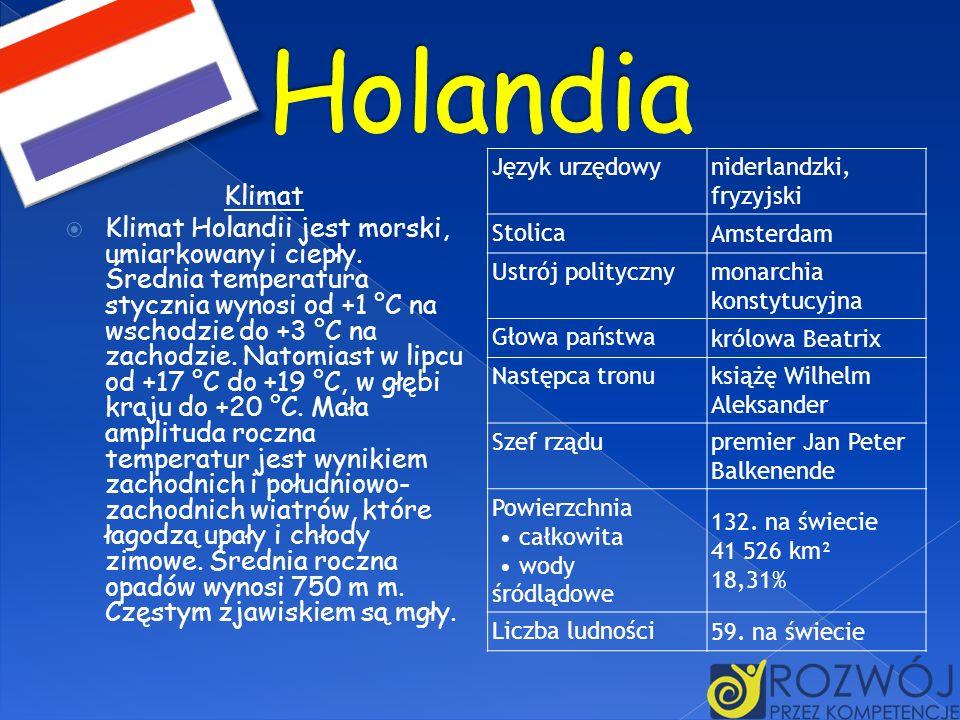 HolandiaJęzyk urzędowy. niderlandzki, fryzyjski. Stolica. Amsterdam. Ustrój polityczny. monarchia konstytucyjna.