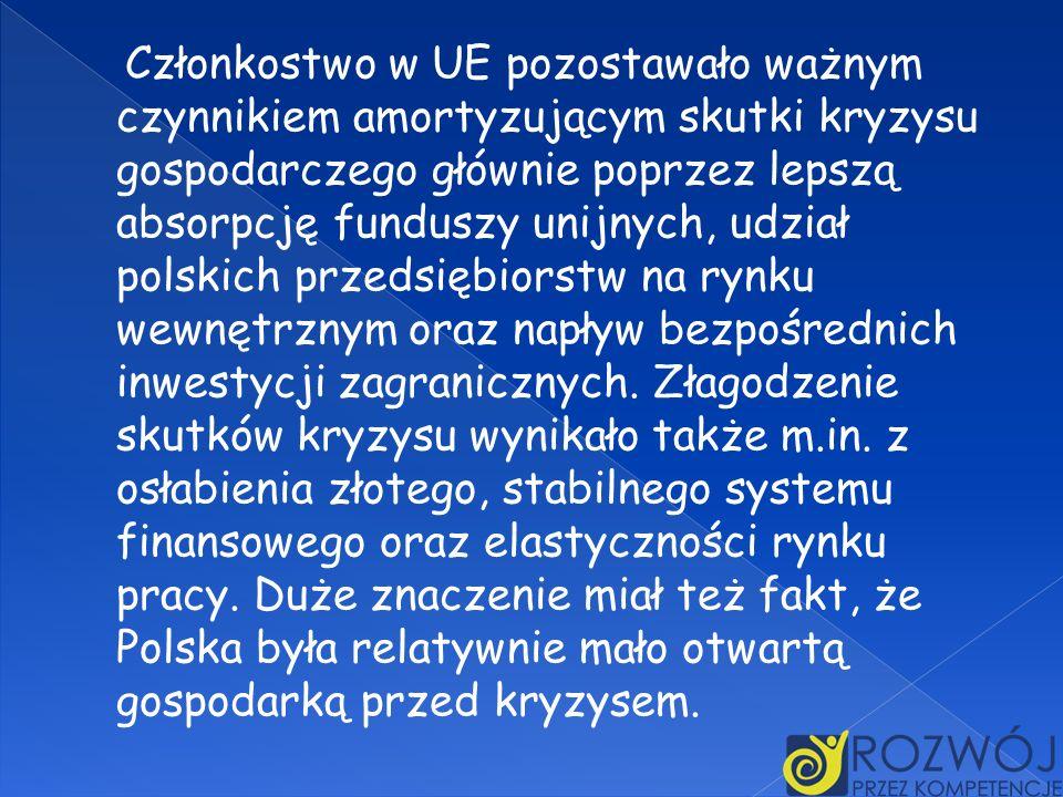Członkostwo w UE pozostawało ważnym czynnikiem amortyzującym skutki kryzysu gospodarczego głównie poprzez lepszą absorpcję funduszy unijnych, udział polskich przedsiębiorstw na rynku wewnętrznym oraz napływ bezpośrednich inwestycji zagranicznych.