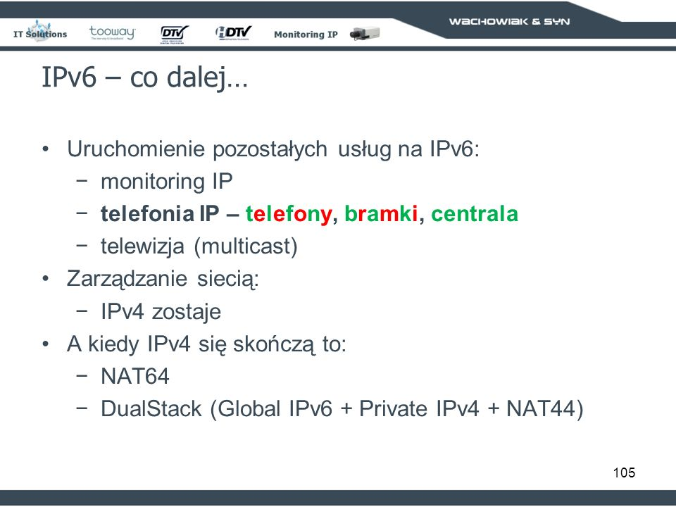 IPv6 – co dalej… Uruchomienie pozostałych usług na IPv6: monitoring IP