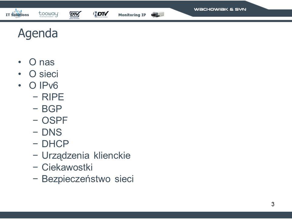 Agenda O nas O sieci O IPv6 RIPE BGP OSPF DNS DHCP