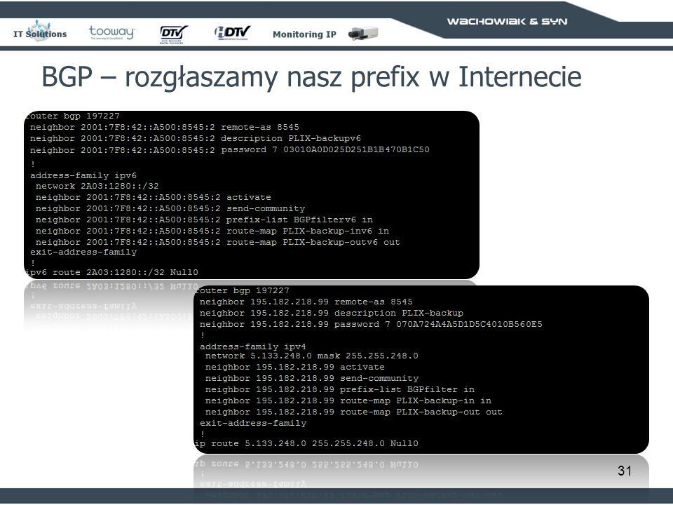 BGP – rozgłaszamy nasz prefix w Internecie