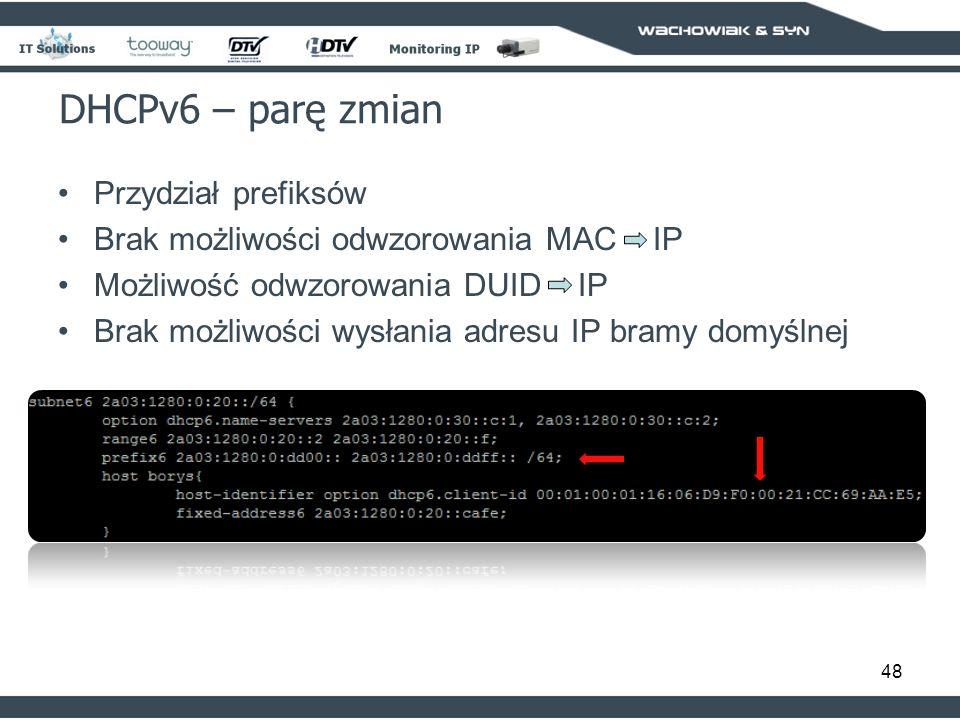 DHCPv6 – parę zmian Przydział prefiksów