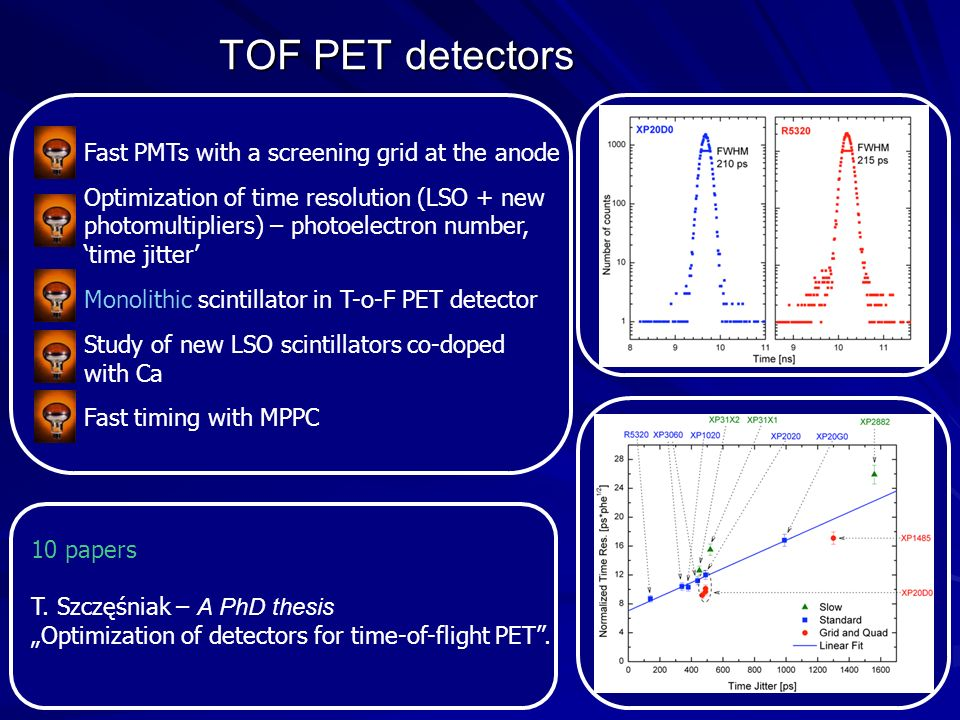 TOF PET detectors Fast PMTs with a screening grid at the anode