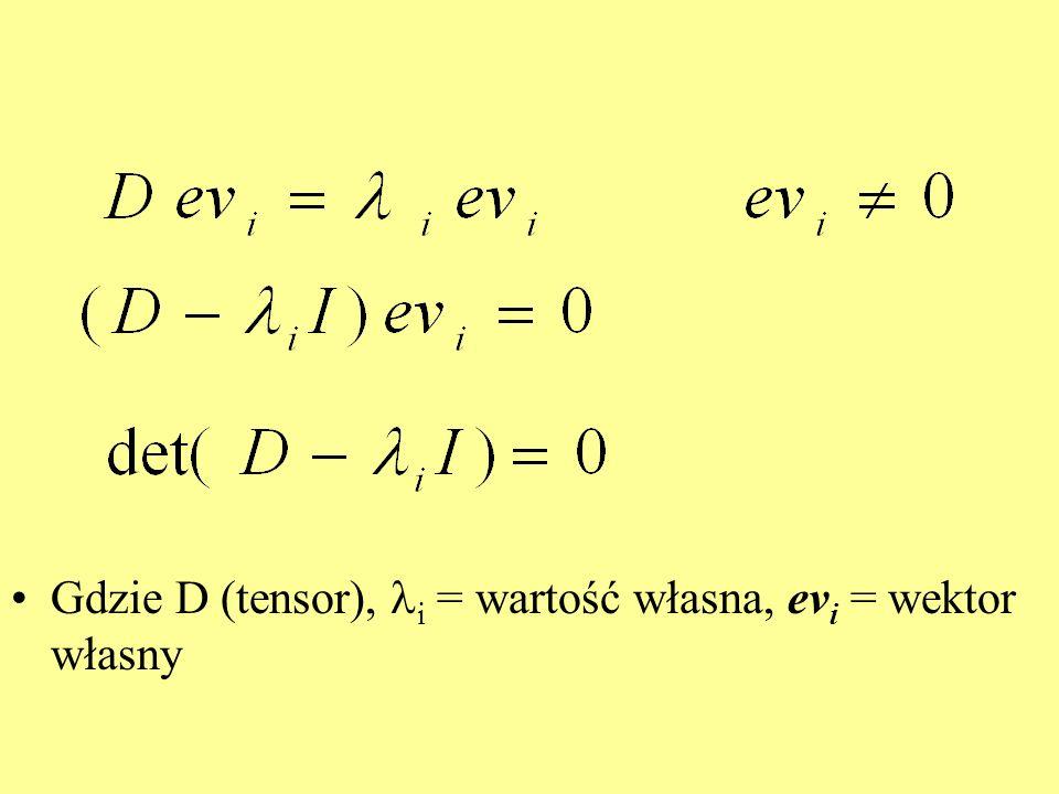 Gdzie D (tensor), i = wartość własna, evi = wektor własny