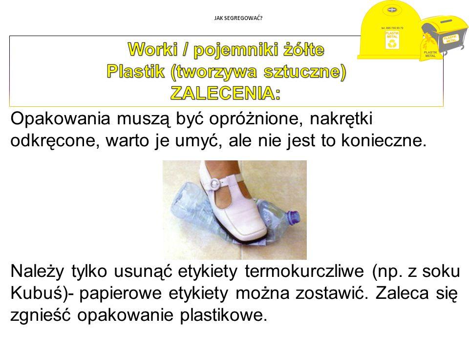 Worki / pojemniki żółte Plastik (tworzywa sztuczne)