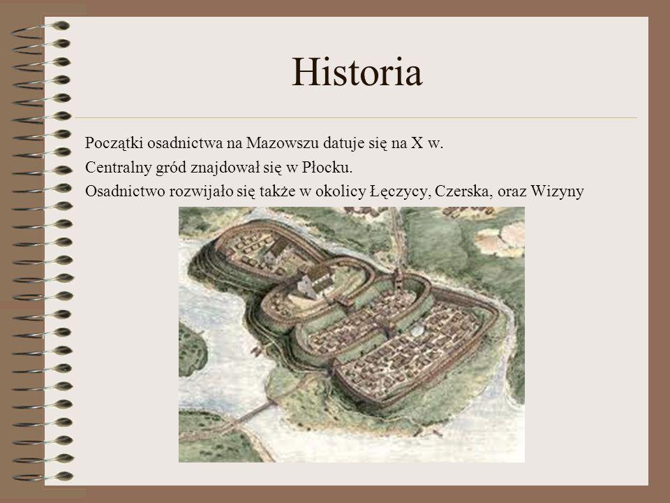 Historia Początki osadnictwa na Mazowszu datuje się na X w.