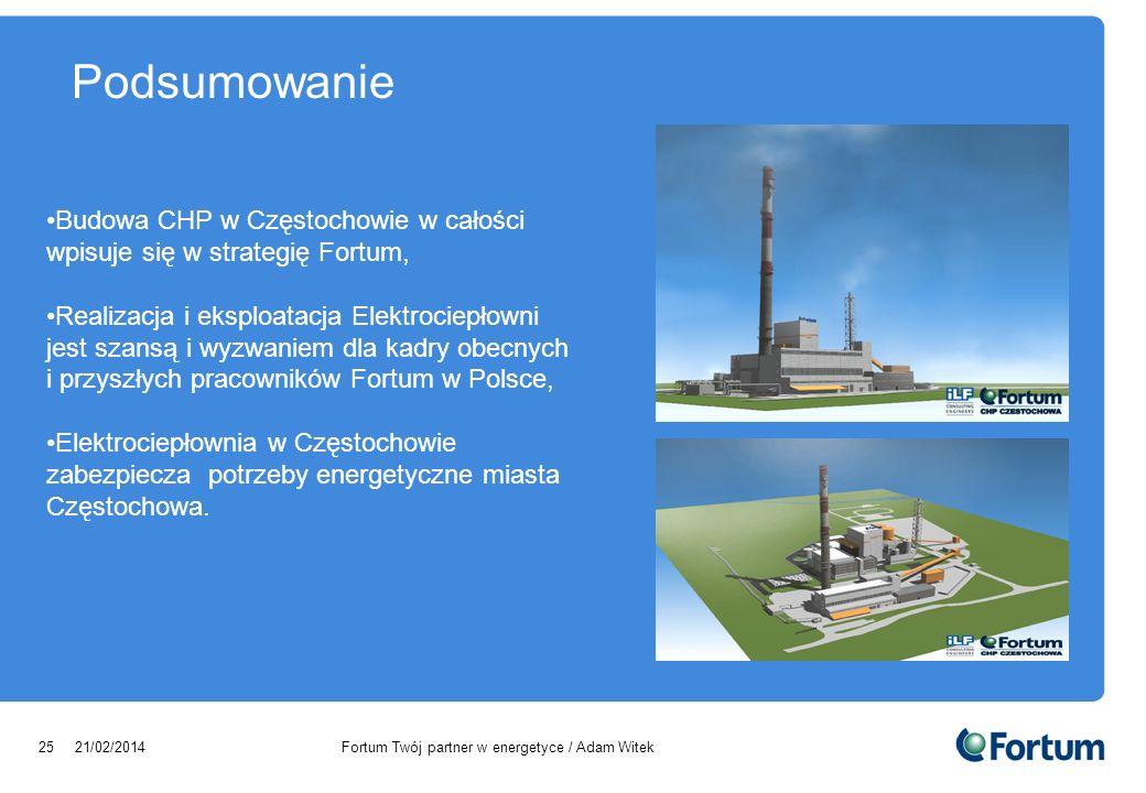 Podsumowanie Budowa CHP w Częstochowie w całości wpisuje się w strategię Fortum,