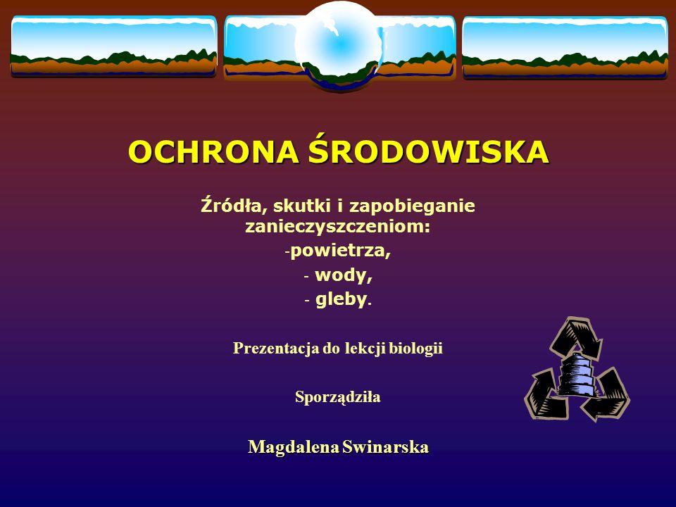 OCHRONA ŚRODOWISKA Magdalena Swinarska