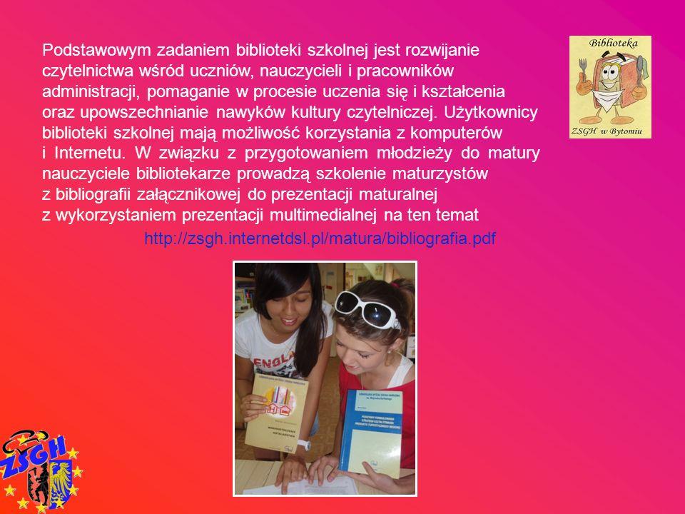 Podstawowym zadaniem biblioteki szkolnej jest rozwijanie czytelnictwa wśród uczniów, nauczycieli i pracowników administracji, pomaganie w procesie uczenia się i kształcenia oraz upowszechnianie nawyków kultury czytelniczej. Użytkownicy biblioteki szkolnej mają możliwość korzystania z komputerów
