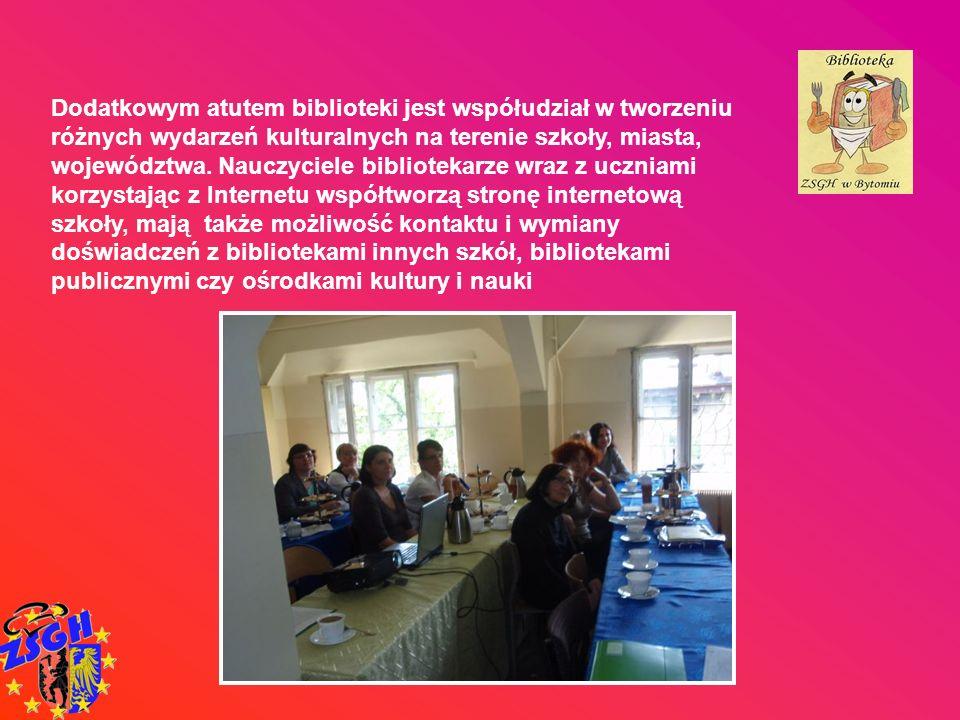 Dodatkowym atutem biblioteki jest współudział w tworzeniu różnych wydarzeń kulturalnych na terenie szkoły, miasta, województwa.