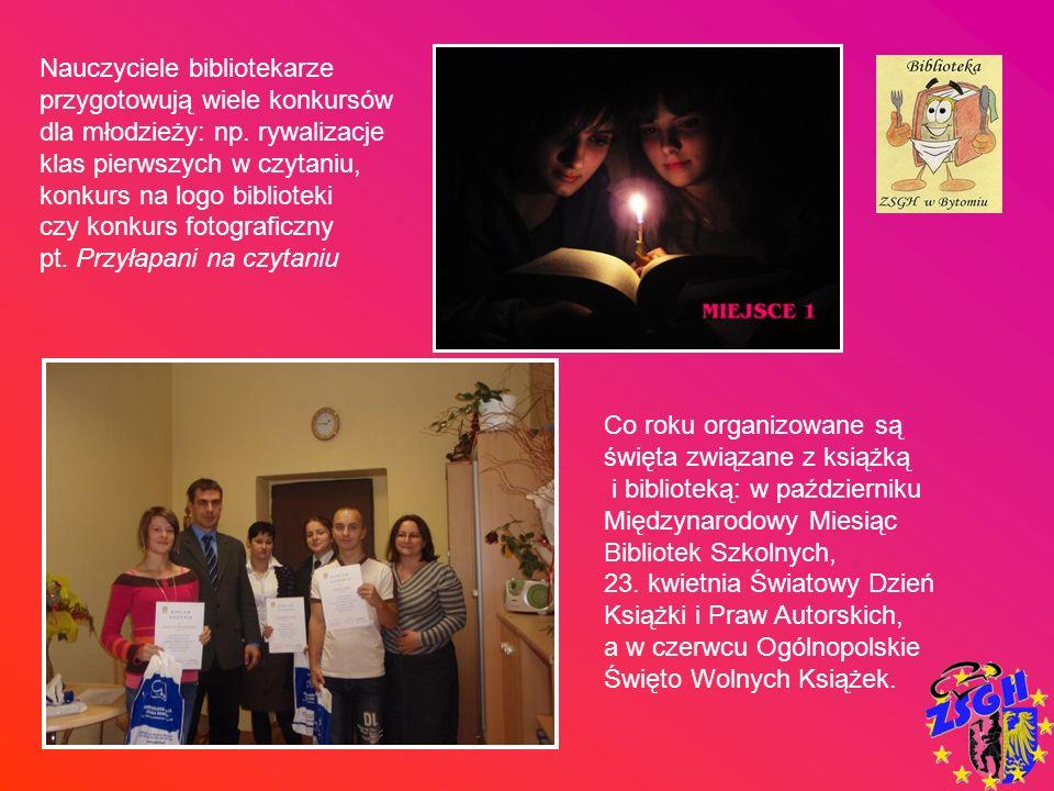 Nauczyciele bibliotekarze przygotowują wiele konkursów dla młodzieży: np. rywalizacje klas pierwszych w czytaniu, konkurs na logo biblioteki