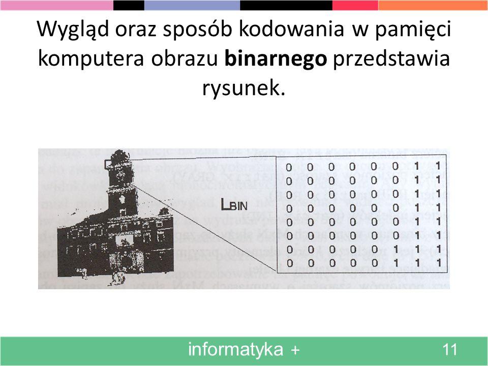 Wygląd oraz sposób kodowania w pamięci komputera obrazu binarnego przedstawia rysunek.