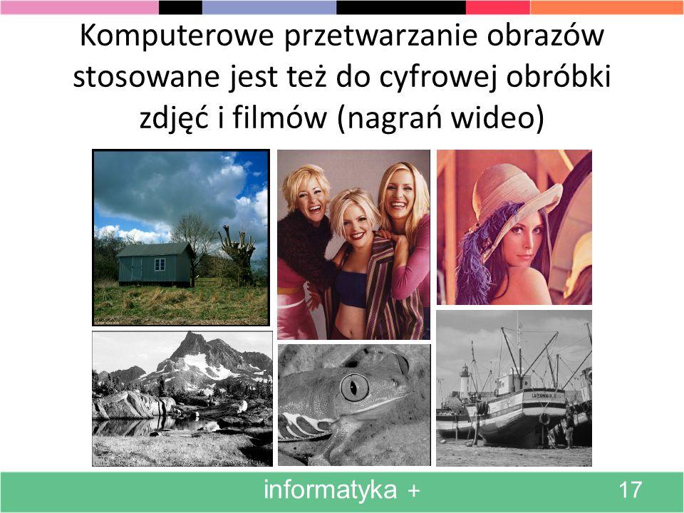 Komputerowe przetwarzanie obrazów stosowane jest też do cyfrowej obróbki zdjęć i filmów (nagrań wideo)