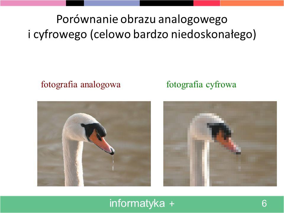 Porównanie obrazu analogowego i cyfrowego (celowo bardzo niedoskonałego)