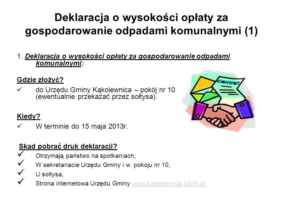 Deklaracja o wysokości opłaty za gospodarowanie odpadami komunalnymi (1)