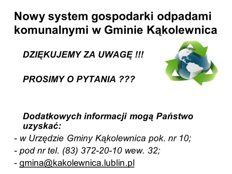Nowy system gospodarki odpadami komunalnymi w Gminie Kąkolewnica