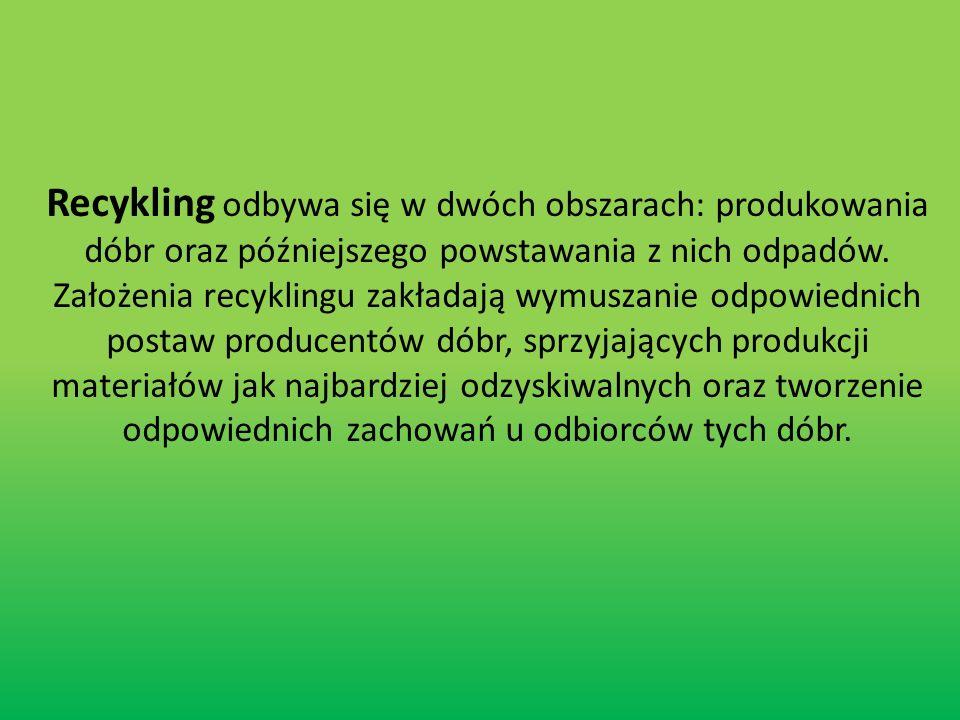 Recykling odbywa się w dwóch obszarach: produkowania dóbr oraz późniejszego powstawania z nich odpadów.