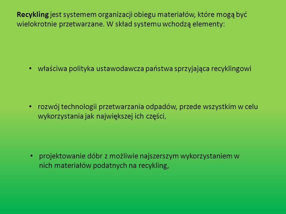 Recykling jest systemem organizacji obiegu materiałów, które mogą być wielokrotnie przetwarzane. W skład systemu wchodzą elementy: