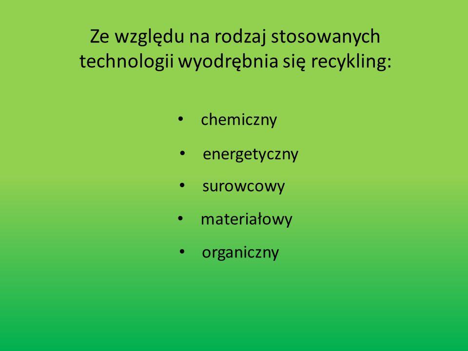 Ze względu na rodzaj stosowanych technologii wyodrębnia się recykling: