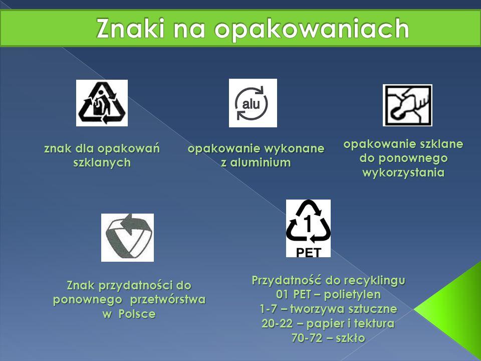 Znaki na opakowaniach opakowanie szklane do ponownego wykorzystania