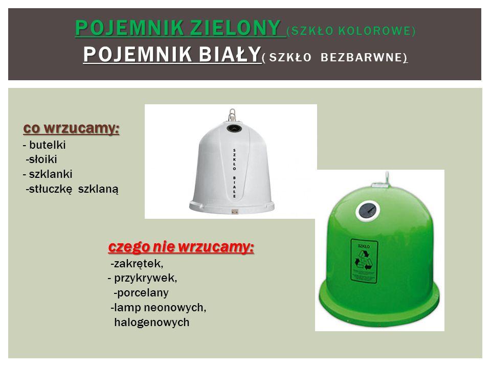 Pojemnik zielony (szkłO kolorowe) Pojemnik biały( szkło bezbarwne)