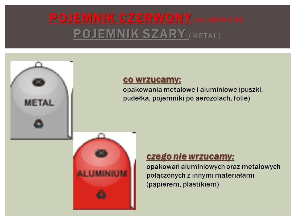Pojemnik czerwony( aluminium) Pojemnik szary (metal)