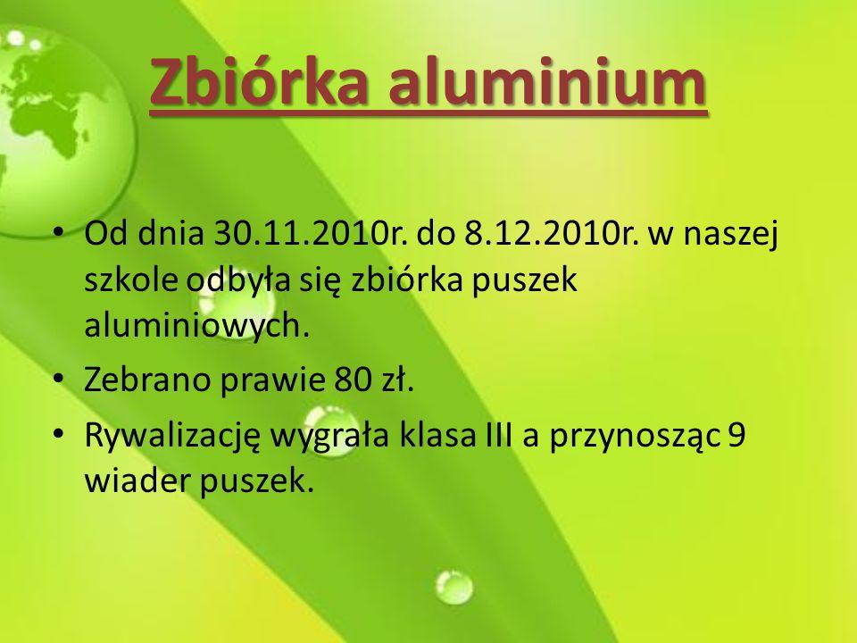 Zbiórka aluminium Od dnia 30.11.2010r. do 8.12.2010r. w naszej szkole odbyła się zbiórka puszek aluminiowych.