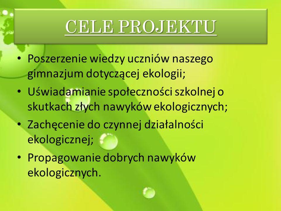 CELE PROJEKTU Poszerzenie wiedzy uczniów naszego gimnazjum dotyczącej ekologii;