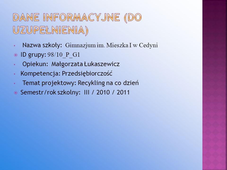 Dane INFORMACYJNE (do uzupełnienia)