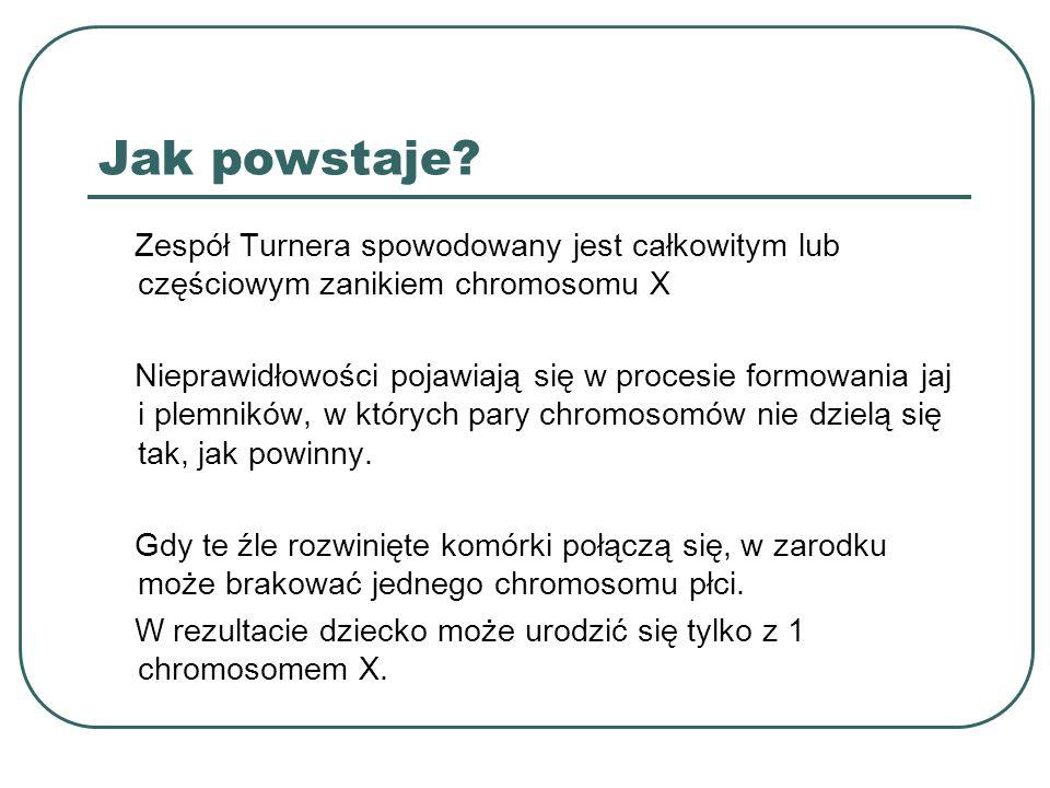 Jak powstaje Zespół Turnera spowodowany jest całkowitym lub częściowym zanikiem chromosomu X.