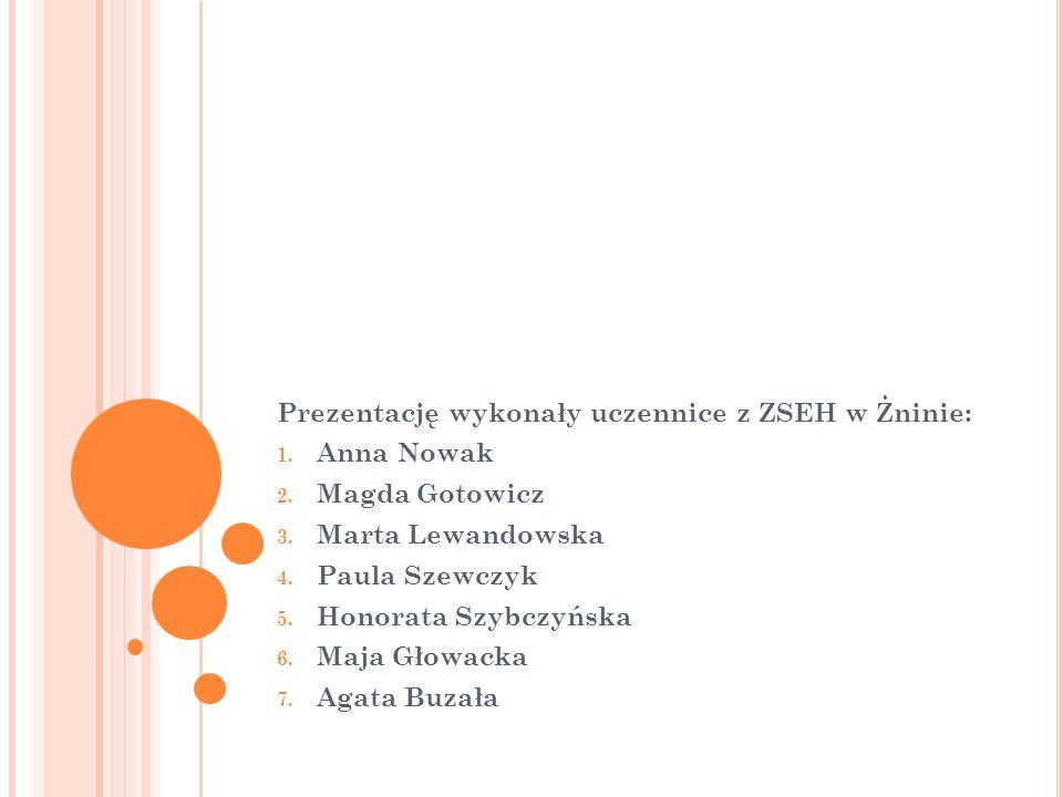 Prezentację wykonały uczennice z ZSEH w Żninie: