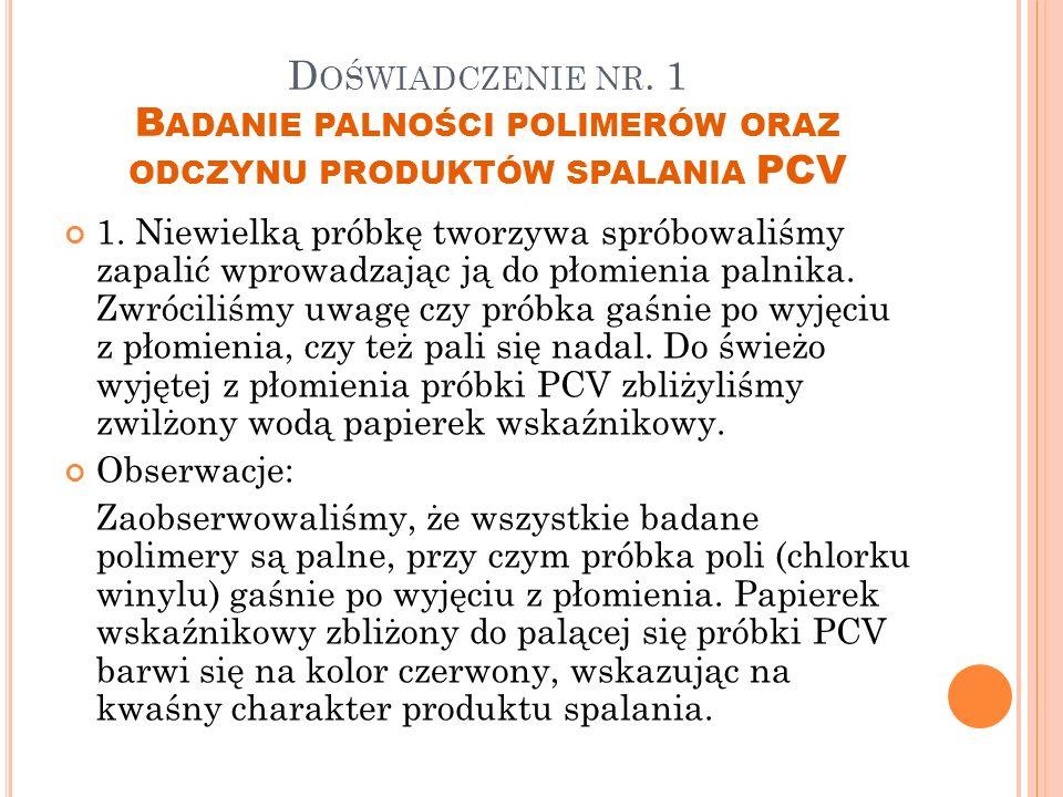 Doświadczenie nr. 1 Badanie palności polimerów oraz odczynu produktów spalania PCV