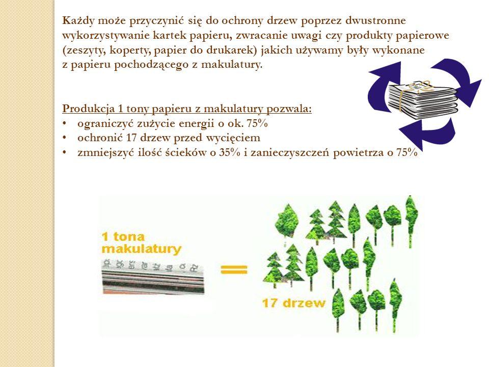 Każdy może przyczynić się do ochrony drzew poprzez dwustronne wykorzystywanie kartek papieru, zwracanie uwagi czy produkty papierowe (zeszyty, koperty, papier do drukarek) jakich używamy były wykonane z papieru pochodzącego z makulatury.
