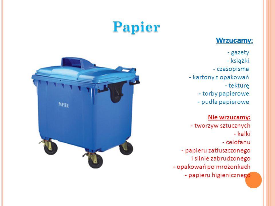 Papier Wrzucamy: - gazety - książki - czasopisma - kartony z opakowań