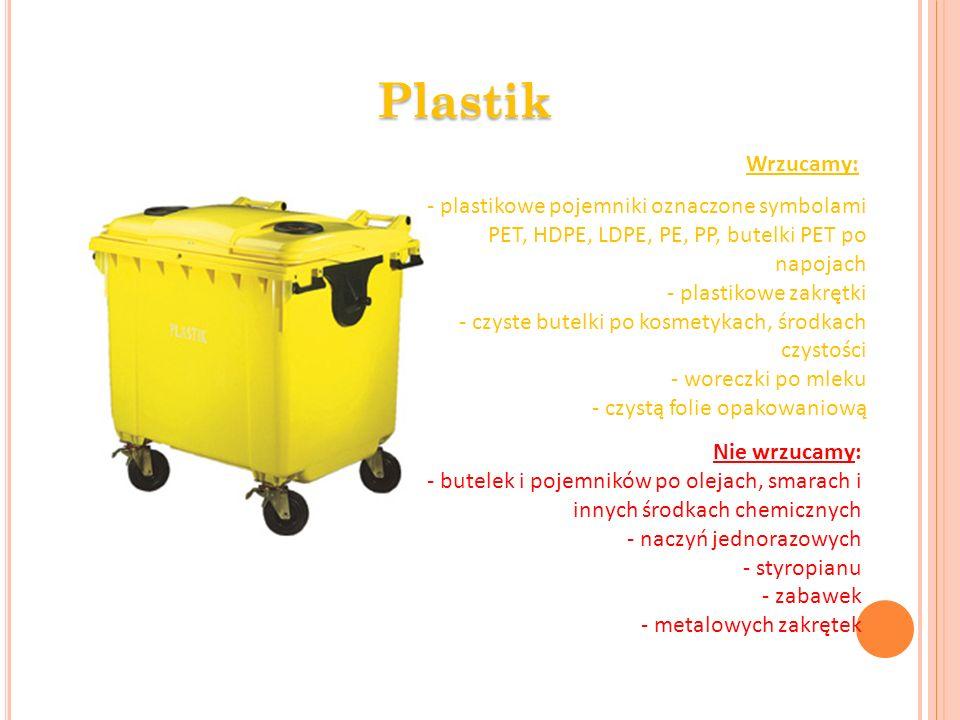 Plastik Wrzucamy: - plastikowe pojemniki oznaczone symbolami PET, HDPE, LDPE, PE, PP, butelki PET po napojach.