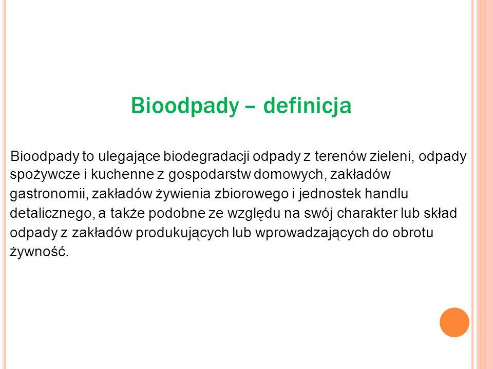 Bioodpady – definicja. Bioodpady to ulegające biodegradacji odpady z terenów zieleni, odpady.