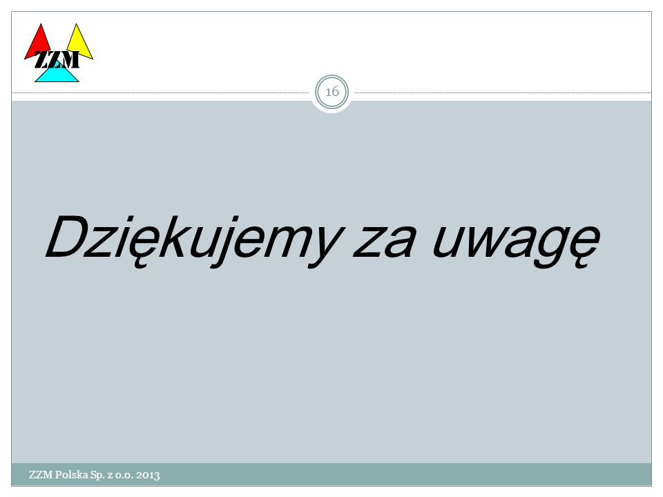 ZZM Dziękujemy za uwagę ZZM Polska Sp. z o.o. 2013
