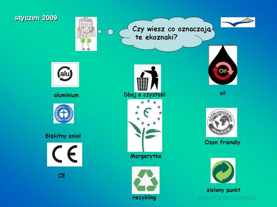 styczeń 2009 Czy wiesz co oznaczają te ekoznaki zielony punkt oil