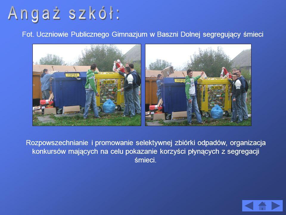 Angaż szkół: Fot. Uczniowie Publicznego Gimnazjum w Baszni Dolnej segregujący śmieci.