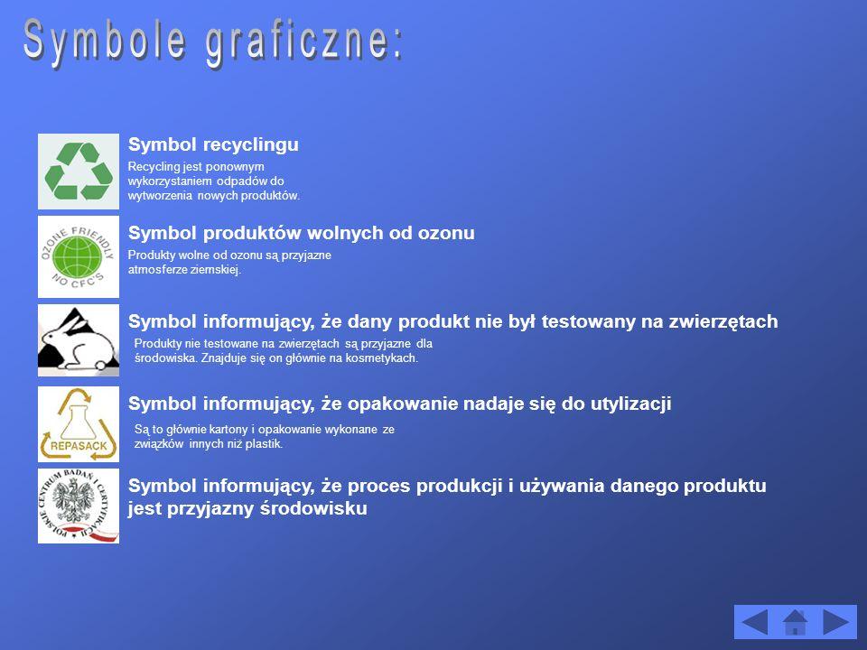 Symbole graficzne: Symbol recyclingu Symbol produktów wolnych od ozonu